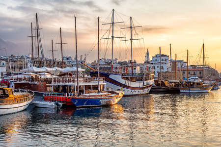 Boats in the harbour of Kyrenia (Girne). Cyprus.