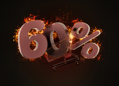 Burning shopping cart and red sixty percentage discount sign. 3D illustration.