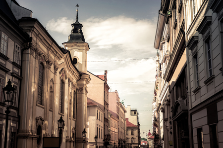 View of scenic narrow street in Plzen (Pilsen). Czech Republic. Lizenzfreie Bilder