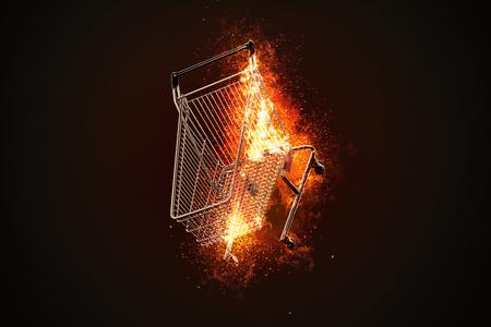 Brennender Einkaufswagen. 3D-Darstellung. Standard-Bild