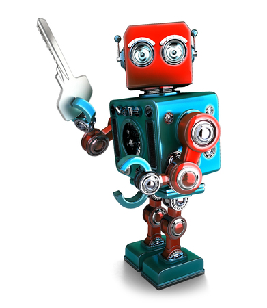 Retro Robot holding a key. 3D illustration. Isolated. Contains clipping path.