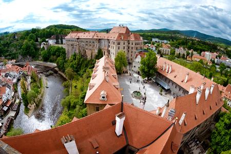 Aerial panorama of Cesky Krumlov Castle courtyard. South Bohemia, Czech Republic