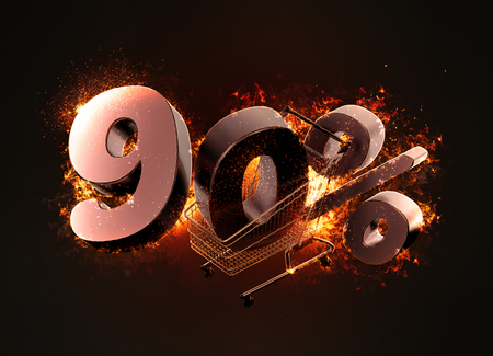 Burning shopping cart and red ninety percentage discount sign. 3D illustration.
