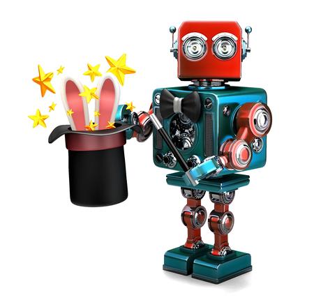 Weinlese-Roboter, der Tricks mit magischem Hut zeigt. 3D-Darstellung. Isoliert. Enthält Beschneidungspfad.