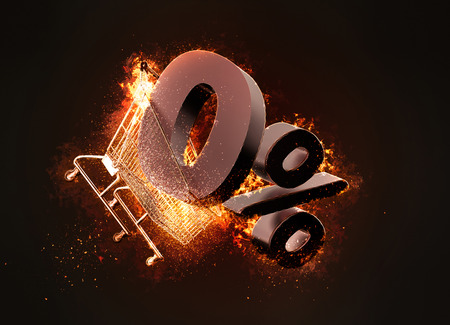 sell: Burning shopping cart and red zero percentage discount sign. 3D illustration. Stock Photo