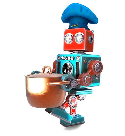Robot Chef mit Kochtopf. 3D-Darstellung. Isoliert. Enthält Beschneidungspfad.