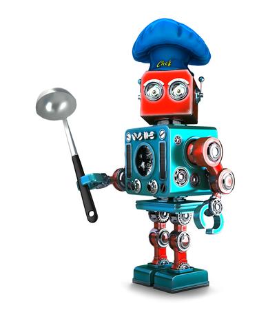 Robot Chef. 3D illustration. Isolated. Contains clipping path. Lizenzfreie Bilder