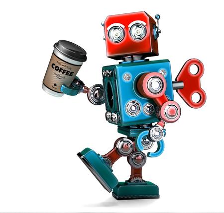 Retro- Roboter, der mit einem Tasse Kaffee geht. 3D-Darstellung. Isoliert. Enthält Beschneidungspfad.
