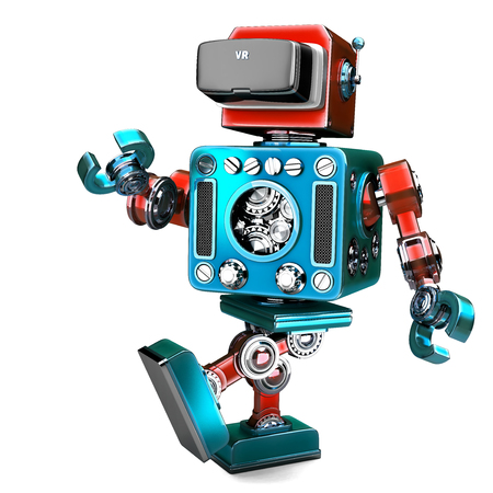 Retro Robot wearing VR headset. 3D illustration. Isolated. Contains clipping path.