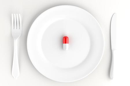 Ein leerer großer Teller mit einer Pille. Ernährungskonzept. 3D-Darstellung.
