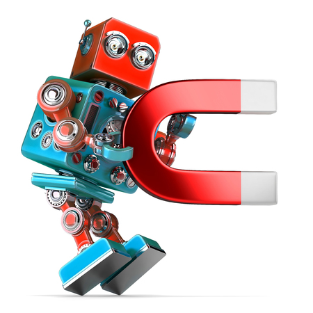 Retro robot holding a big magnet. 3D illustration. Isolated. Contains clipping path.