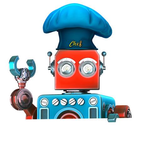 Roboter-Chef mit leerem leerem Brett. 3D-Darstellung. Isoliert. Enthält Beschneidungspfad.