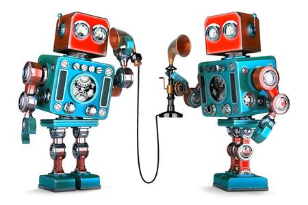 cable telefono: Vintage Robots teniendo una conversación telefónica. Ilustración 3D. Aislado. Contiene trazado de recorte