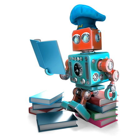 Robot Chef reading cookbook. 3D illustration. Isolated. Contains clipping path
