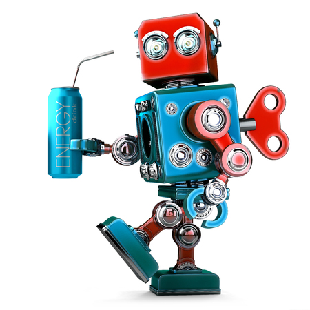 Robot with energy drink can. Technology concept. 3D illustration. Isolated. Contains clipping path.