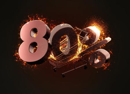 Brennender Warenkorb und rotes achtzig Prozent Rabattzeichen. 3D-Darstellung.