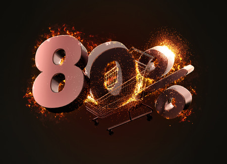 Burning shopping cart and red eighty percentage discount sign. 3D illustration.