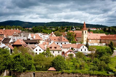 View on Cesky Krumlov town and gardens. Czech Republic.