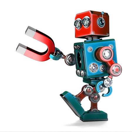 Retro- Roboter, der einen Magneten anhält. 3D-Darstellung. Isoliert. Enthält Beschneidungspfad.