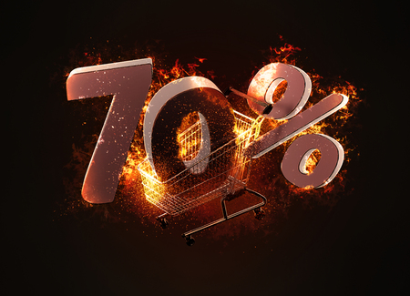 Burning shopping cart and red seventy percentage discount sign. 3D illustration.