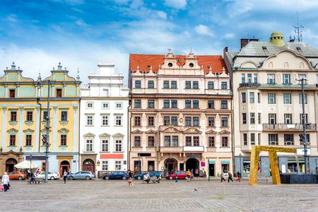 Street scene in the in the main square of Plzen (pilse). Czech Republic.