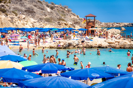 AYIA NAPA, CYPRUS - AUGUST 18, 2017: Konnos beach, one of the most scenic beaches on Cyprus.