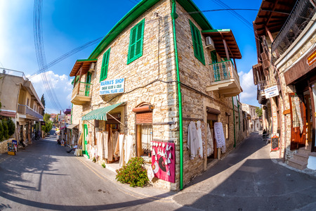 LEFKARA, CYPRUS - SEPTEMBER 29, 2017: Traditional embroideries and souvenir shop.