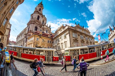 PRAGUE, CZECH REPUBLIC - MAY 25, 2017: Tourists walking at Lesser town square (Malostranske namesti). Editorial