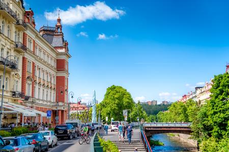 KARLOVY VARY, CZECH REPUBLIC - MAY 26, 2017: Column by Postovni bridge along Masaryka pedestrian street. Editorial