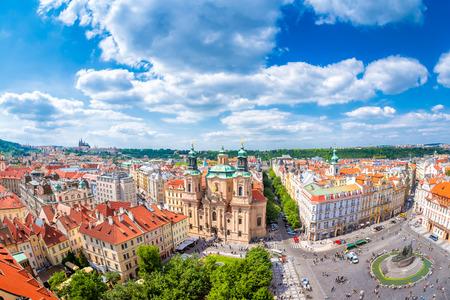 Historic centre of Prague, St. Nicholas Church and Old Town Square. Prague, Czech Republic. Standard-Bild