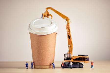 Coffee making team. Macro photo.