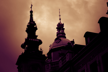 Silhouette of St. Michael the Archangel Cathedral at sunset. Belgrade, Serbia.