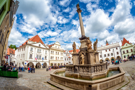 The Plague Column at the main square of Cesky Krumlov. Czech Republic. Editorial