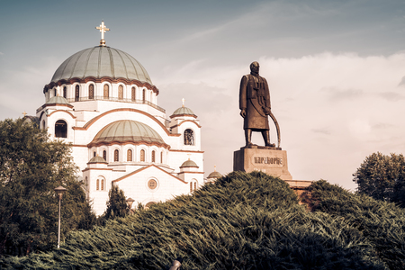 Saint Sava Cathedral and Monument of Karageorge Petrovitch. Belgrade, Serbia.