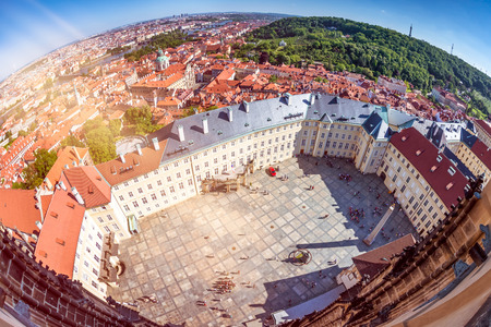 Prague Castle courtyard. Elevated view from St. Vitus cathedral. Pragure, Czech Republic