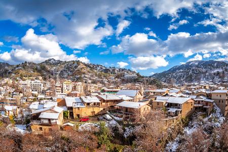 Winter rural landscape. Kakopetria village. Nicosia District. Cyprus.
