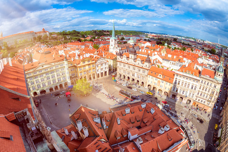 Lesser Town Square from Church of Saint Nicolas. Prague, Czech Republic.