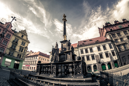 Plaque Pillar at Republic Square. Pilsen (Plzen), Czech Republic.