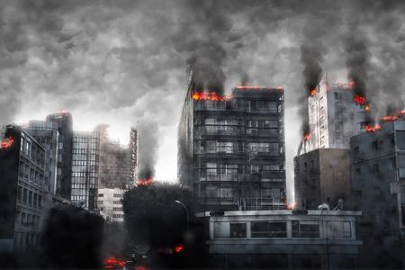 Apocalyptic cityscape. Digital illustration. Фото со стока