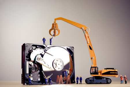 Repair of the dismantled hard drive. Stok Fotoğraf