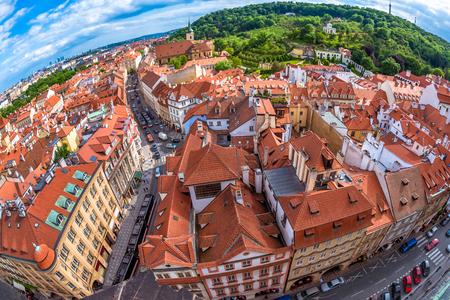 Prague cityscape as seen from the St. Nicholas Church. Prague, Czech Republic.