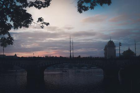 Silhouette of Legion bridge. Prague, Czech Republic.