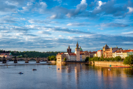 The western tower of the Charles Bridge with view to Prague Castle