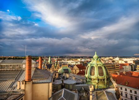 Prague rooftops and Obecni Dum (Municipal House), view from Poder Tower. Czech Republic.