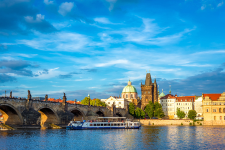 Prague Old Town skyline and Charles Bridge. Czech Republic.