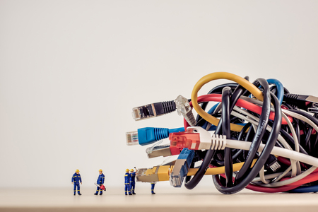 Tangled bunch of network cables. Stock Photo