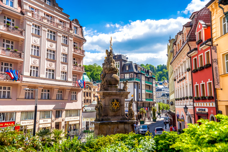KARLOVY VARY, CZECH REPUBLIC - MAY 26, 2017: Column with the sculpture of the Holy Trinity. Editorial