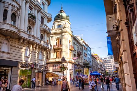 BELGRADE, SERBIA - SEPTEMBER 23, 2015: Pedestrian street of Knez Mihailova in Belgrade.