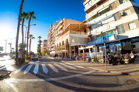 TORREVIEJA , SPAIN - NOVEMBER 13, 2017: Pedestrian crossing at Torrevieja town center on a sunny day.