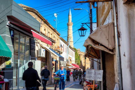 NICOSIA, CYPRUS - DECEMBER 03, 2015: Arasta street, a touristic street leading to an Selimiye mosque on December 3, 2015 in Nicosia.
